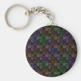 Tiles in Rainbow Basic Round Button Key Ring