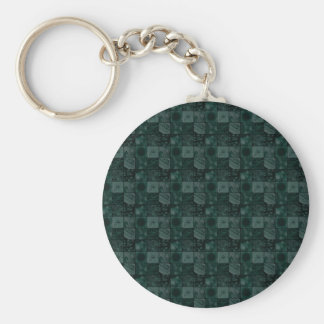 Tiles in Teal Basic Round Button Key Ring