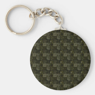 Tiles in Yellow Basic Round Button Key Ring