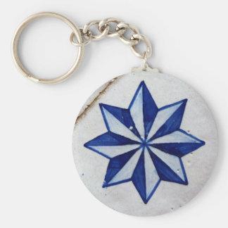 Tiles, Portuguese Tiles Basic Round Button Key Ring