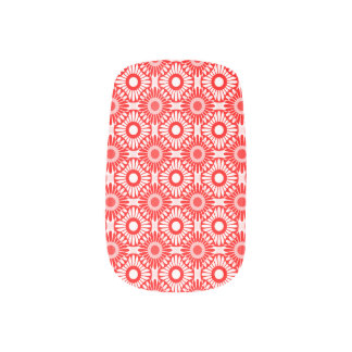 Tiles Red and Pink Minx Nail Art