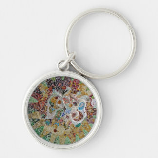 Tiles Silver-Colored Round Key Ring