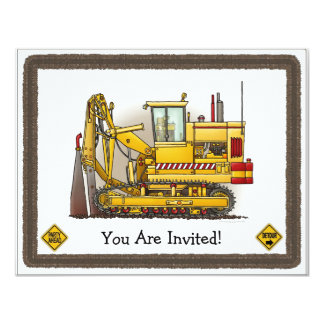 Tiling Machine Construction Kids Party Invitation
