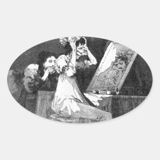 Till death by Francisco Goya Oval Sticker