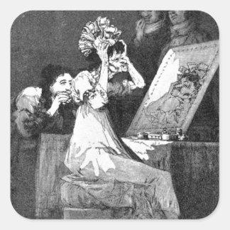 Till death by Francisco Goya Square Sticker