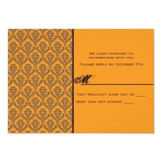 Till Death Damask Hallowedding RSVP Card 13 Cm X 18 Cm Invitation Card