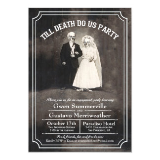 "Till Death Do Us Engagement Party Invitations 5"" X 7"" Invitation Card"