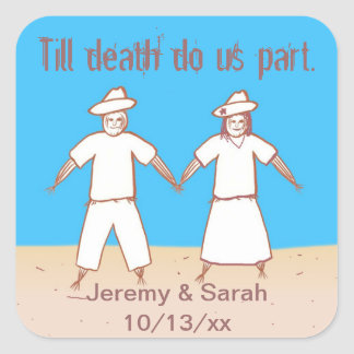 Till death do us part Scarecrow Wedding Stickers