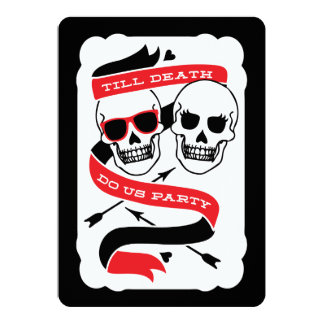 """Till Death Do Us Party - Black and Red Wedding 5"""" X 7"""" Invitation Card"""