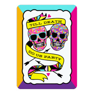 Till Death Do Us Party - Neon Wedding Invitation