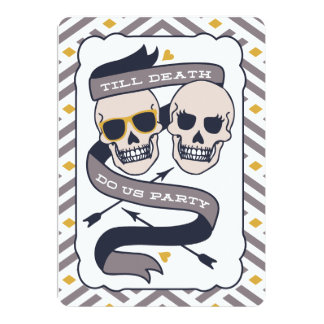 Till Death Do Us Party - Silver Blue Wedding 5x7 Paper Invitation Card