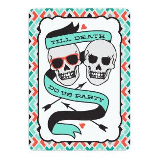 Till Death - Turquoise and Orange Wedding 13 Cm X 18 Cm Invitation Card