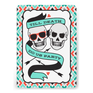 Till Death - Turquoise and Orange Wedding Announcement