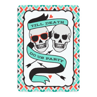 Till Death - Turquoise and Orange Wedding 13 Cm X 18 Cm Invitation Card