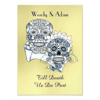 Till Death Us Do Part Sugar Skull Tattoo Design 4.5x6.25 Paper Invitation Card