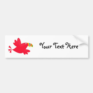 Tilly the Red Toucan Cute Cartoon Bird Bumper Sticker