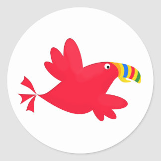 Tilly the Red Toucan Cute Cartoon Bird Classic Round Sticker