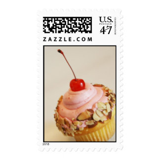Tilted Cherry Cupcake Postage Stamp