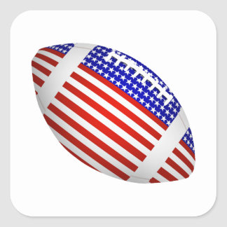 Tilted Football With American Flag Design (1) Square Sticker