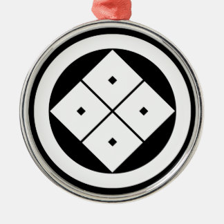 Tilted four-square-eyes in circle christmas ornament
