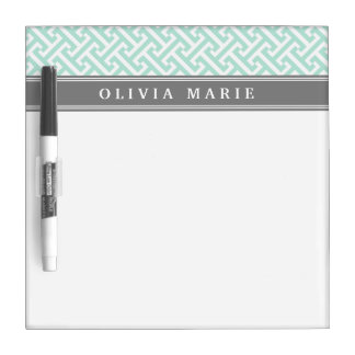 Tilted Mint Green Greek Key Pattern with Name Dry Erase Whiteboard
