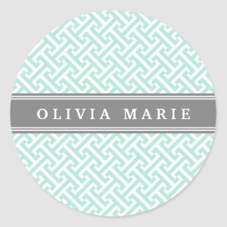 Tilted Mint Green Greek Key Pattern with Name Round Sticker
