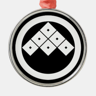 Tilted six-squrae-eyes in circle christmas ornament