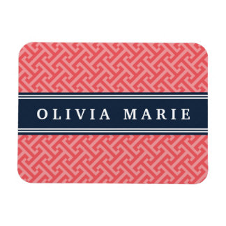 Tilted Watermelon Pink Greek Key Pattern with Name Rectangular Photo Magnet