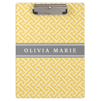 Tilted Yellow Greek Key Pattern with Name Clipboards