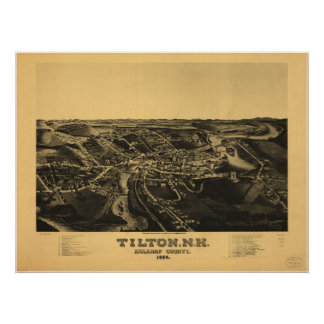 Tilton New Hampshire 1884 Antique Panoramic Map Poster