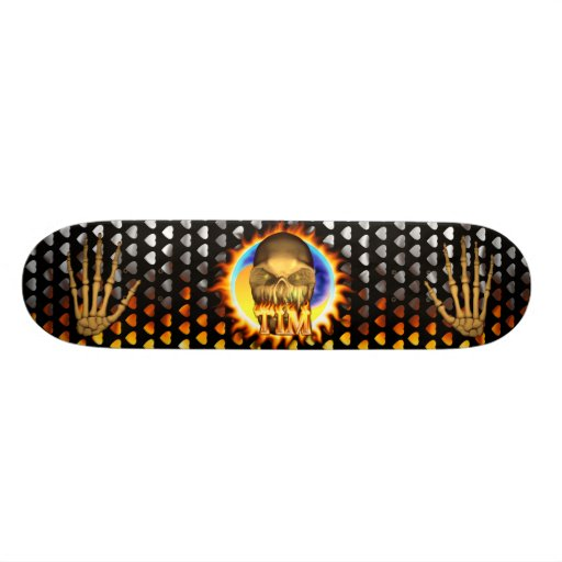 Tim skull real fire and flames skateboard design.