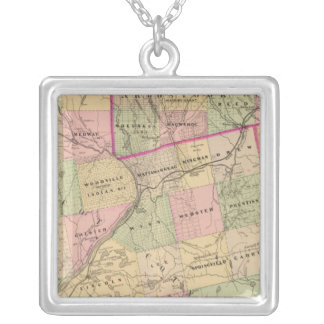 Timber lands 3 Map Silver Plated Necklace