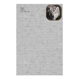 Timber Wolf Face Gray Custom Stationery
