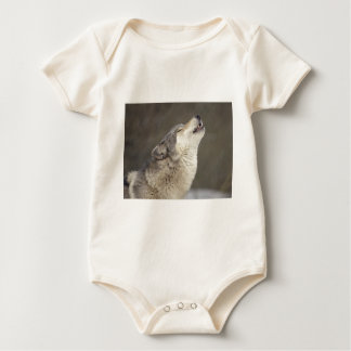 Timber Wolf Howling Baby Creeper
