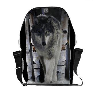 Timber Wolf in Winter Snow Wildlife  Messenger Bag
