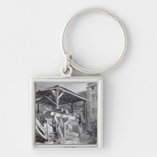 Timber Yard, Finsbury, 1825 Silver-Colored Square Key Ring