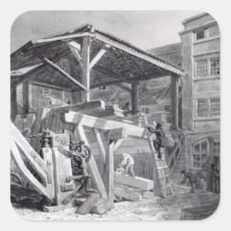 Timber Yard, Finsbury, 1825 Square Sticker