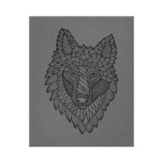 Timberwolf Lineart Design Canvas Print