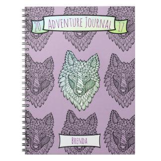 Timberwolf Lineart Design Spiral Notebook