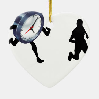Time Clock Running Work Life Balance Concept Ceramic Heart Decoration