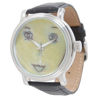 Time Face Barack, Chalk Drawing, Vintage Watch