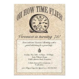 """Time Flies Clock Invitation - Vintage 5"""" X 7"""" Invitation Card"""