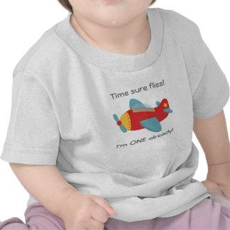 Time flies Cute Aeroplane I m One 1st Birthday Tshirts