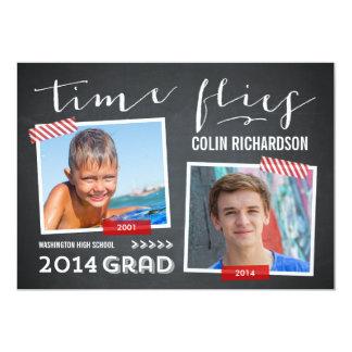 Time Flies Graduation Invitation - Red Announcement