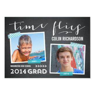 Time Flies Graduation Invitation - Turquoise Invites