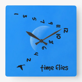 Time flies in the sky wall clocks
