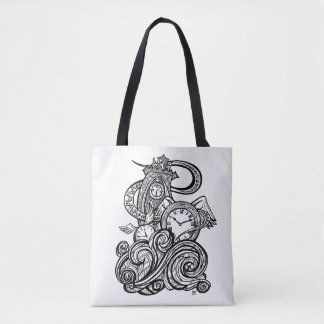 Time Flies Intricate Clock Tower illustration Tote Bag