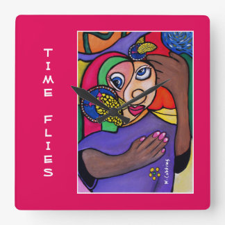 Time Flies Time Pieces Bright Colours Square Wall Clock