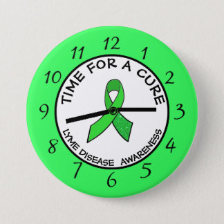 Time for a Cure Lime  Awareness Ribbon Stickers 7.5 Cm Round Badge