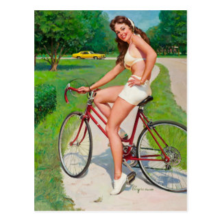 Time for a Ride - Retro Pin-up Girl Postcard